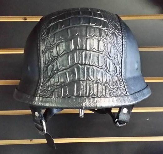 Rock City Cycles Black Alligator Skin Custom German Helmet