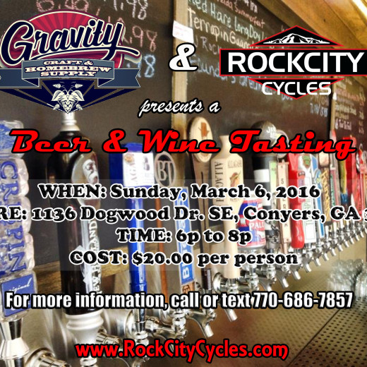 "ROCK CITY CYCLES & GRAVITY Craft & Homebrew Supply ""Beer & Wine Tasting"""