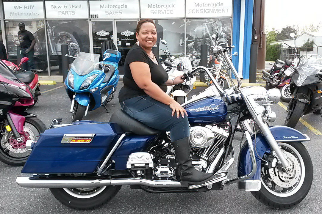 Andrea B. with 2007 Harley-Davidson Road King