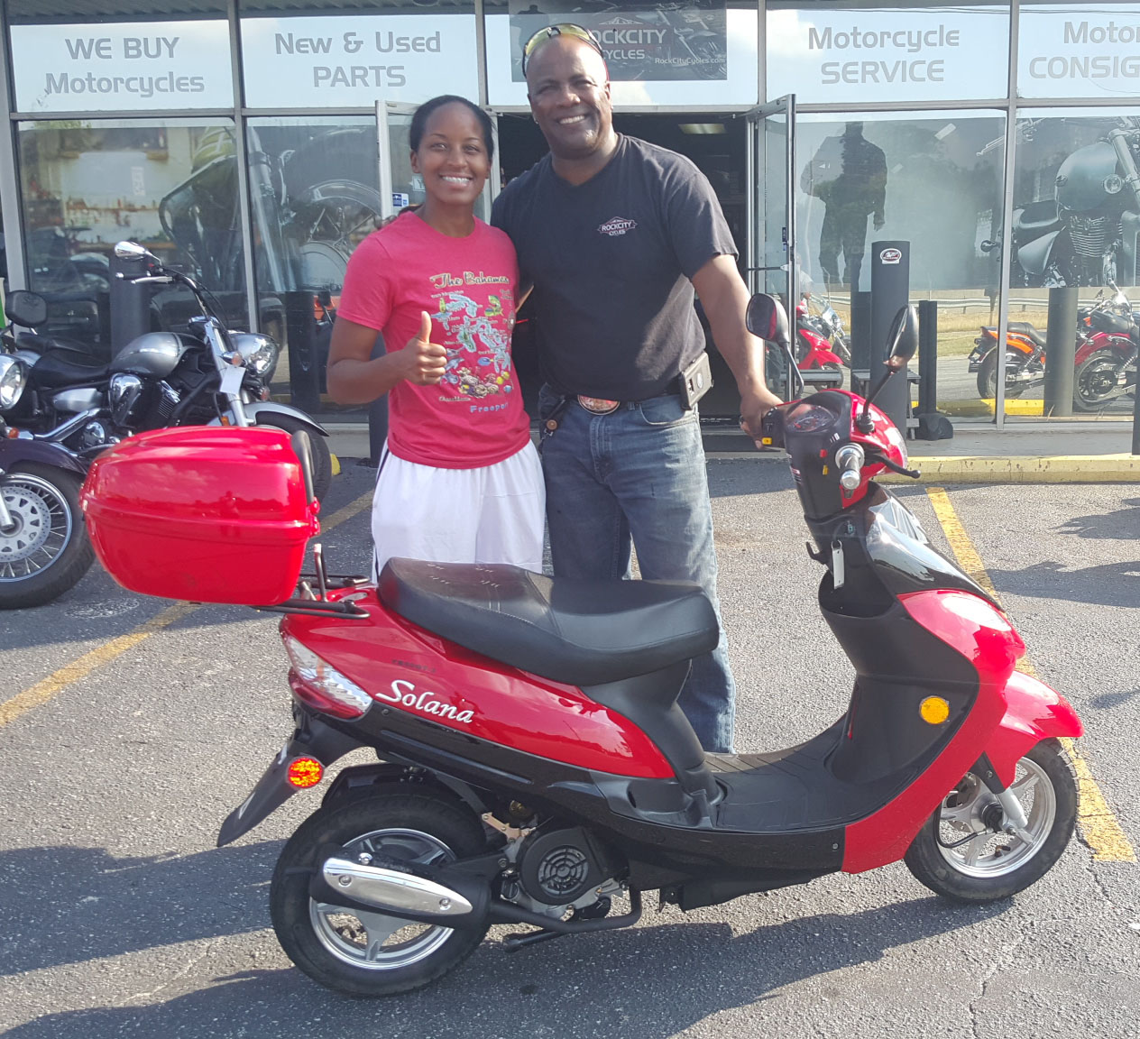 Cherelle with 2015 Solana 50cc Scooter