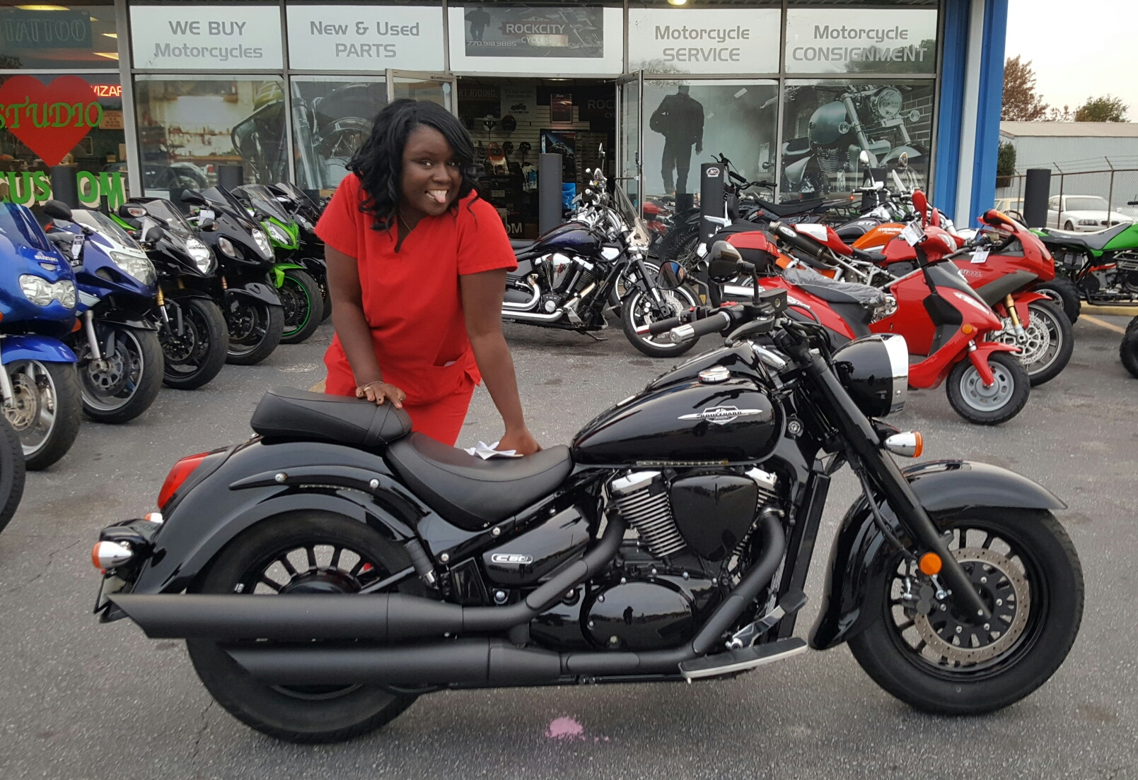 rea c. with her 2014 suzuki boulevard c50 boss – rock city cycles