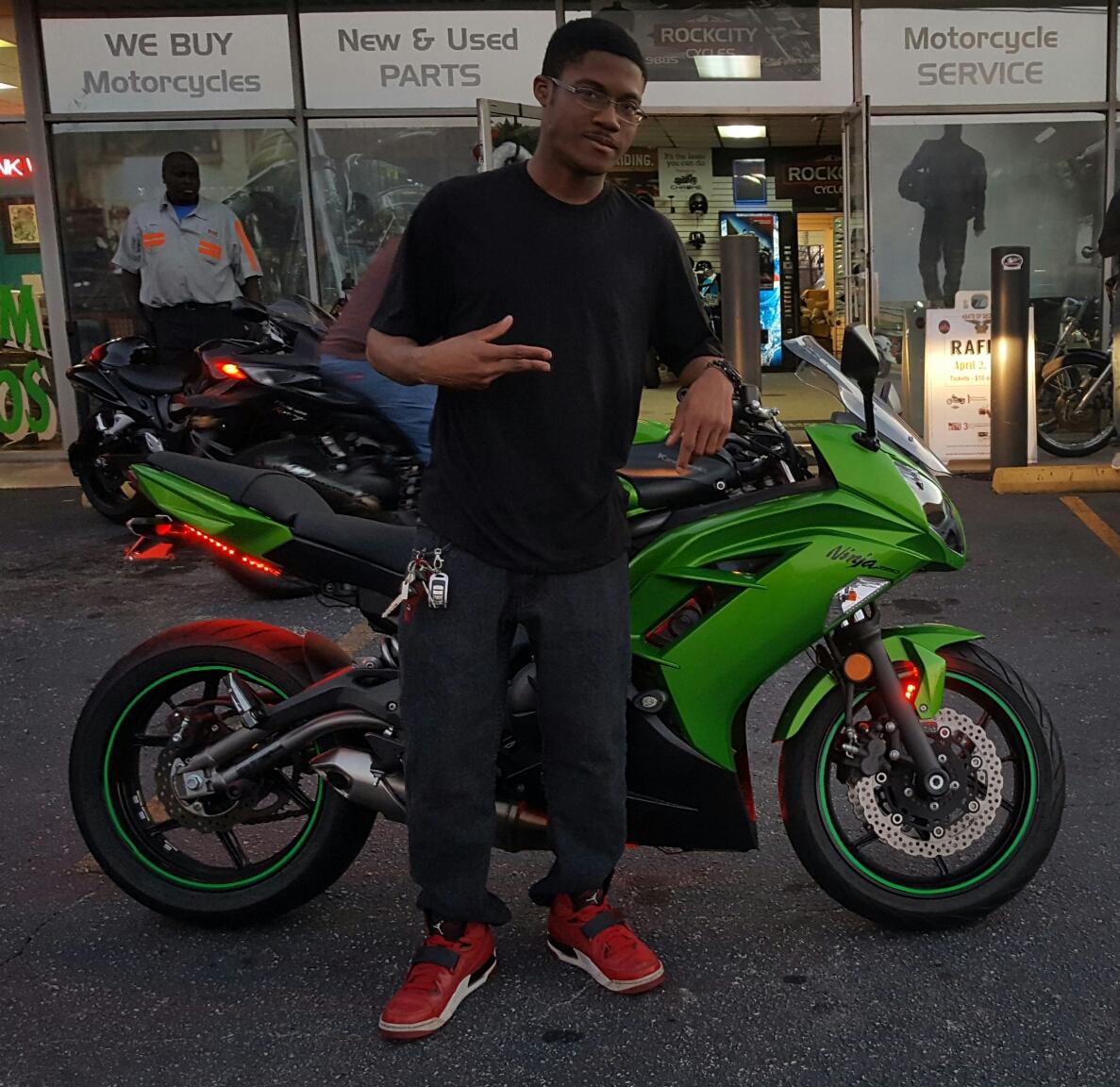 Camryn M. with his 2012 Kawasaki Ninja EX650
