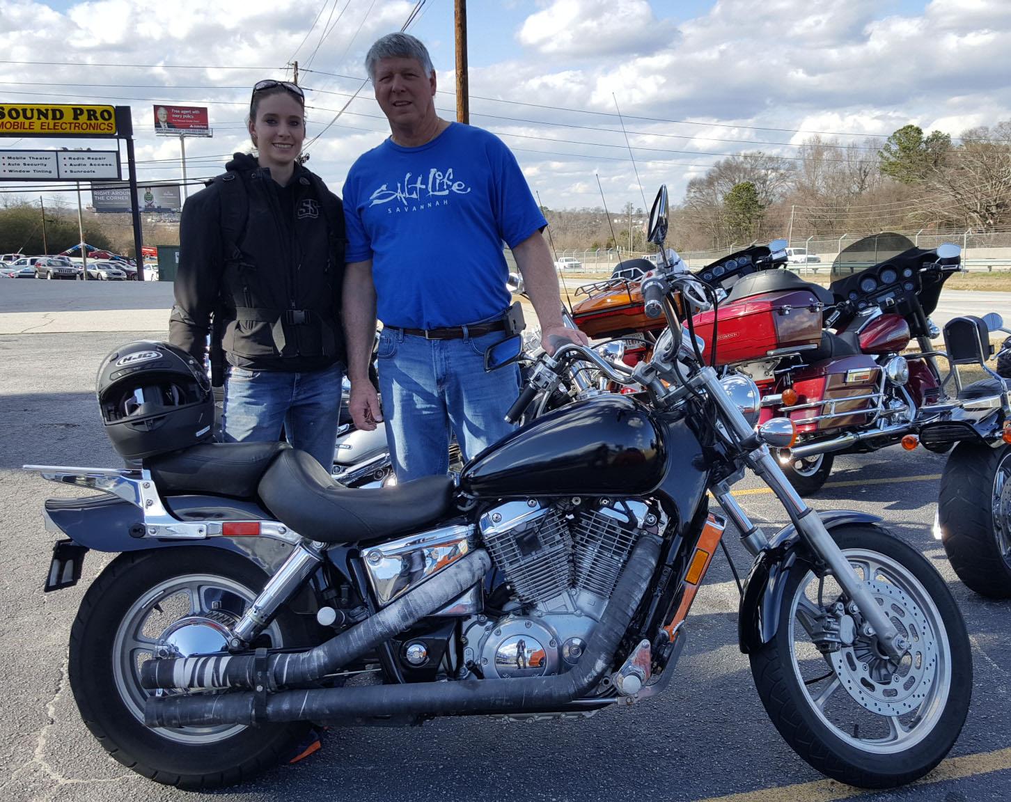 William C. with his 2003 Honda Shadow Spirit VT1100C
