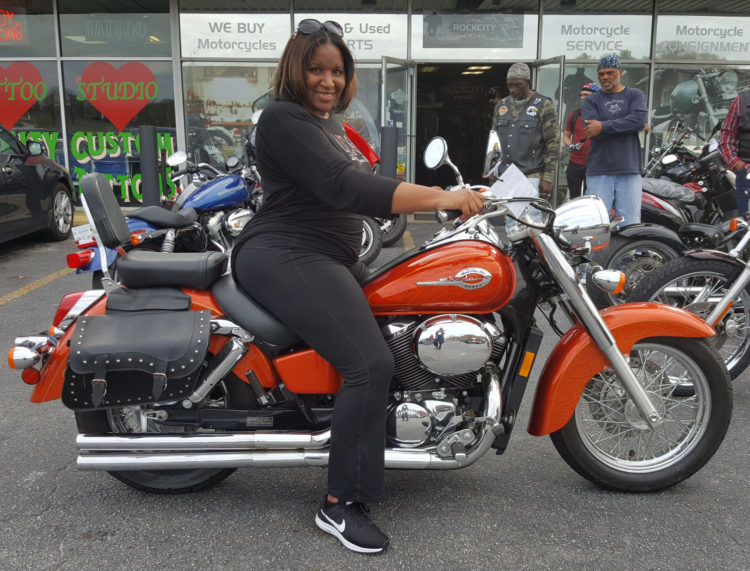 Sherri W. with her 2003 Honda VT750 Shadow Ace Deluxe ...