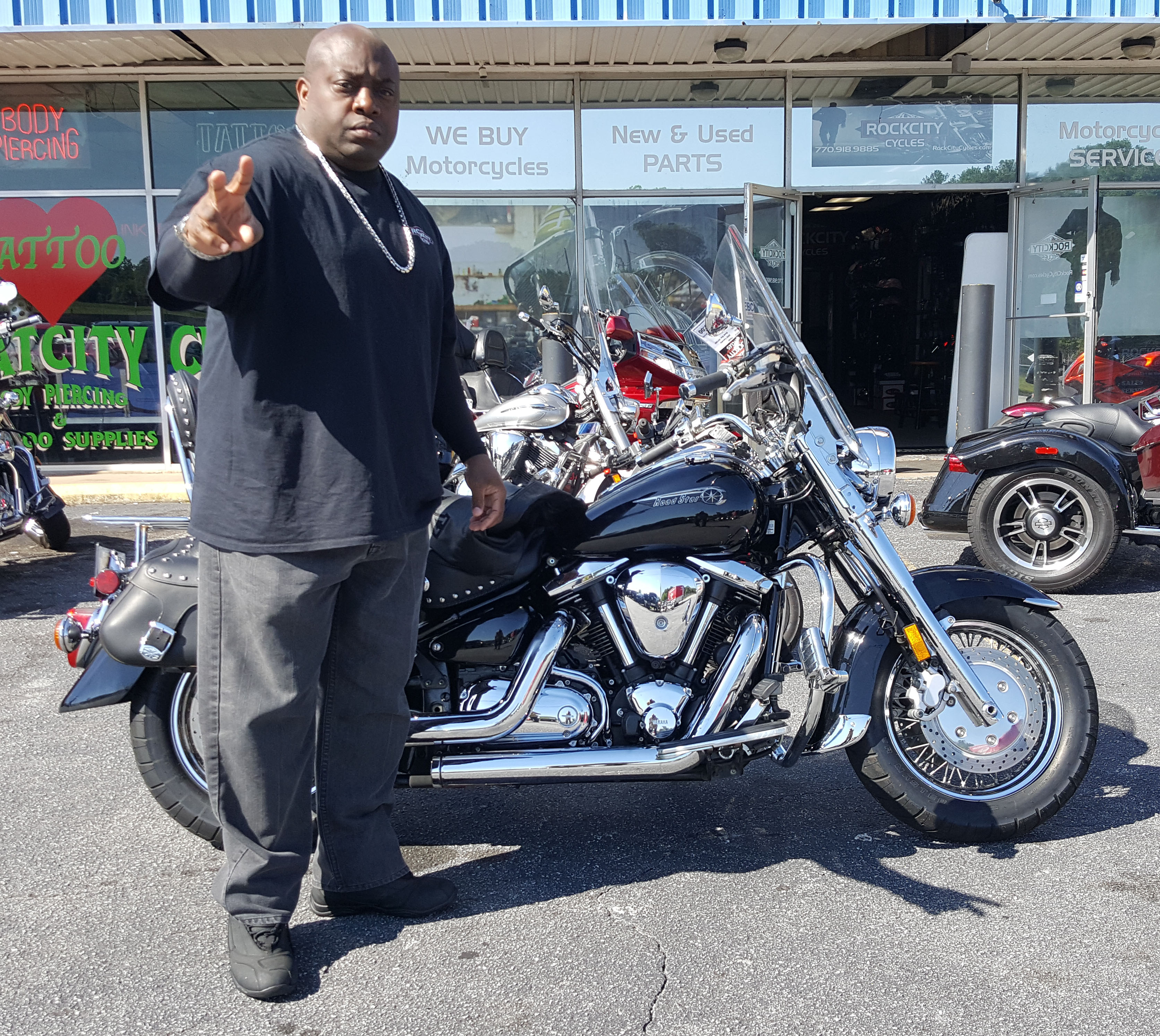 Christopher T. with his 2002 Yamaha Road Star XV1600