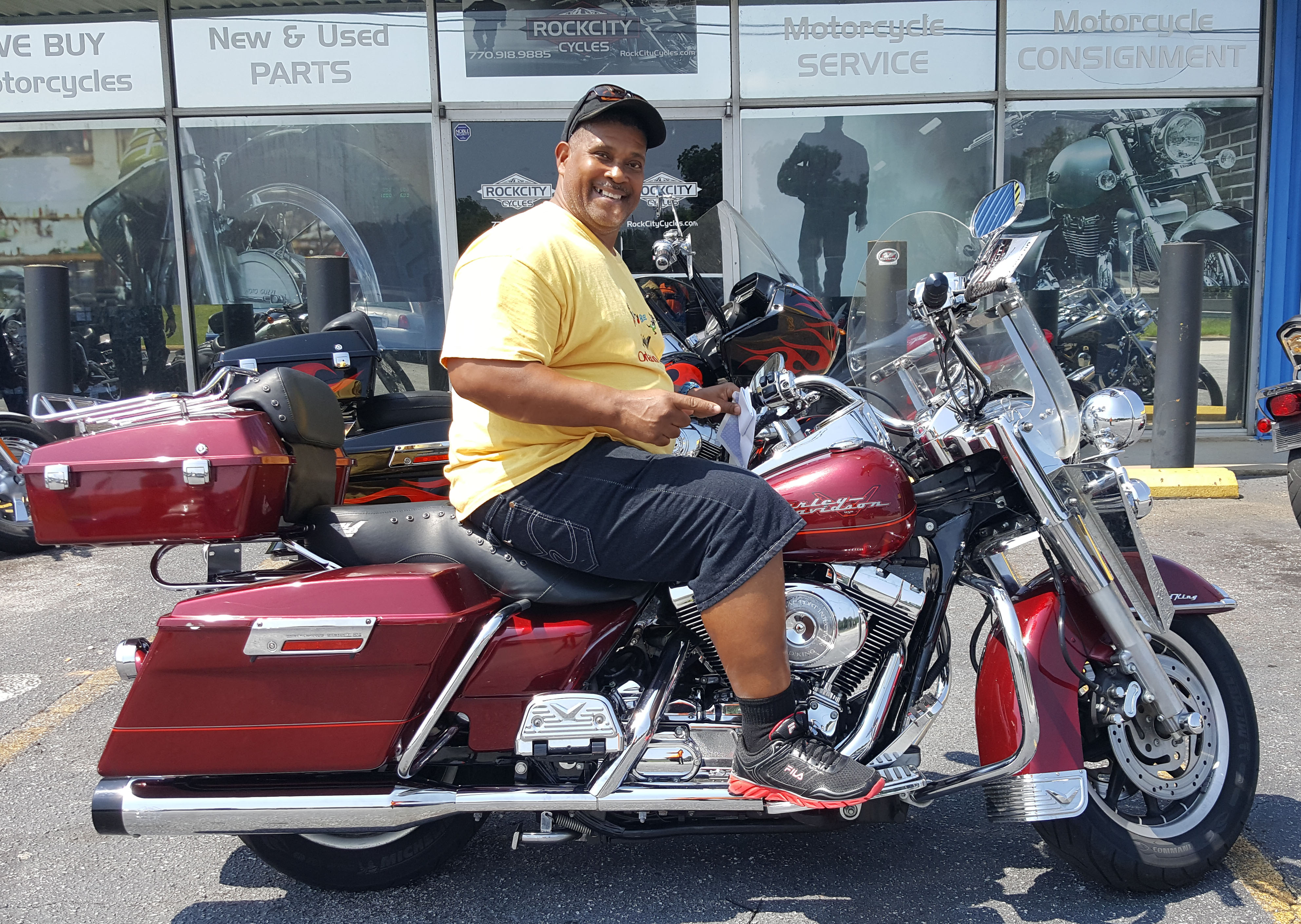 Alexander P. with his 2001 Harley-Davidson FLHRI Road King