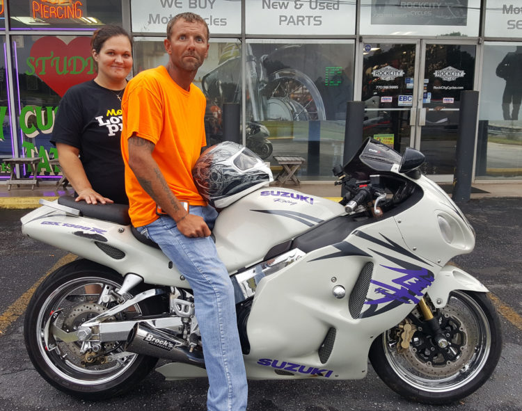 Charles & Sarah with their 2005 Suzuki Hayabusa GSX-R1300