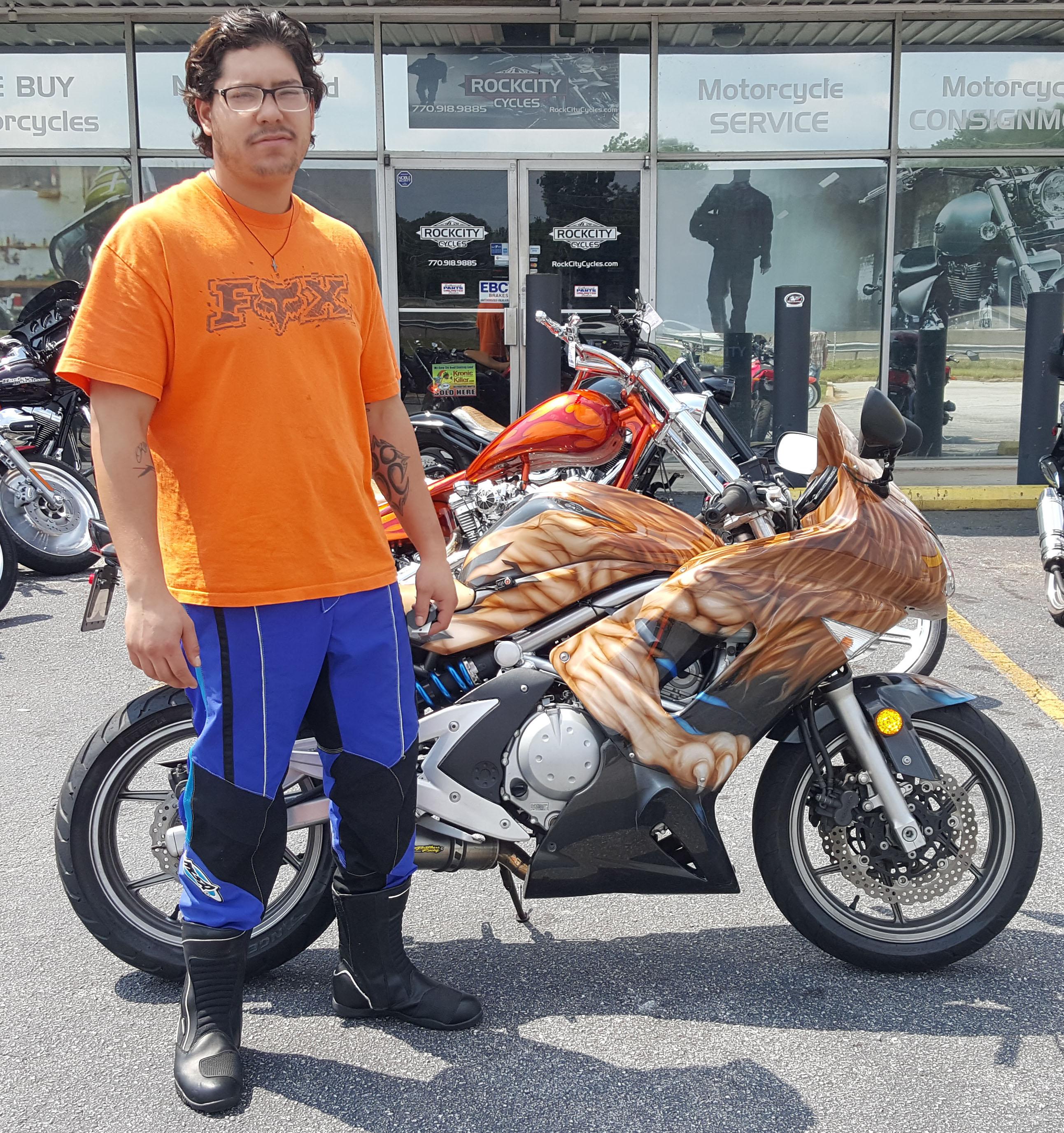 Erick J. with his 2007 Kawasaki Ninja EX650R