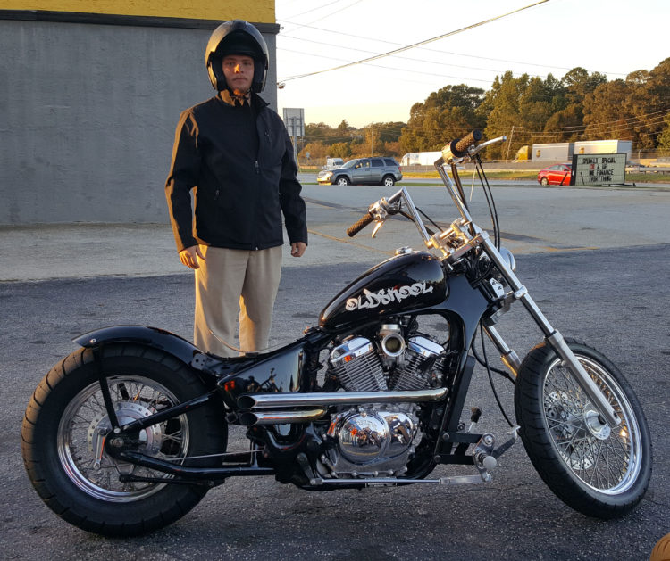 Tyler R. with his 2006 Honda VLX Deluxe Bobber