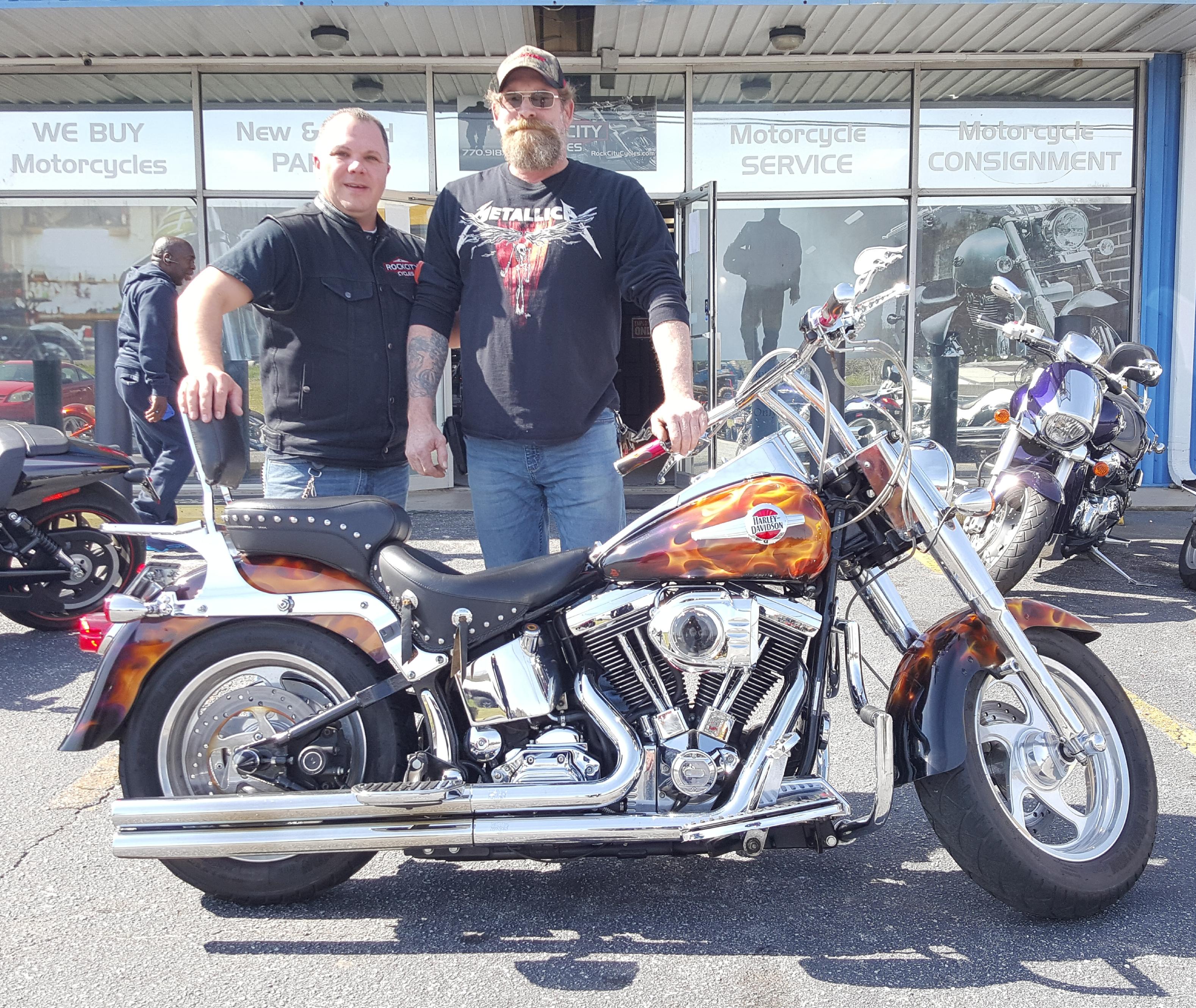 Michael F. with his 1996 Harley-Davidson FLSTF Fat Boy