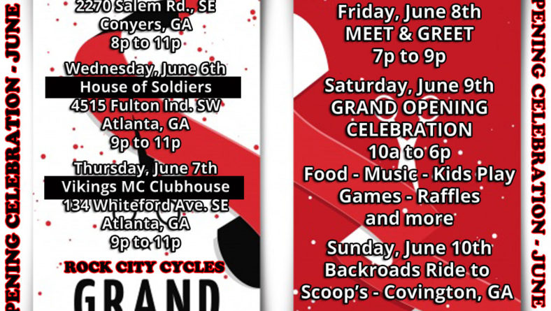 ROCK CITY CYCLES Grand Opening Weekend Celebration – June 8-10, 2018