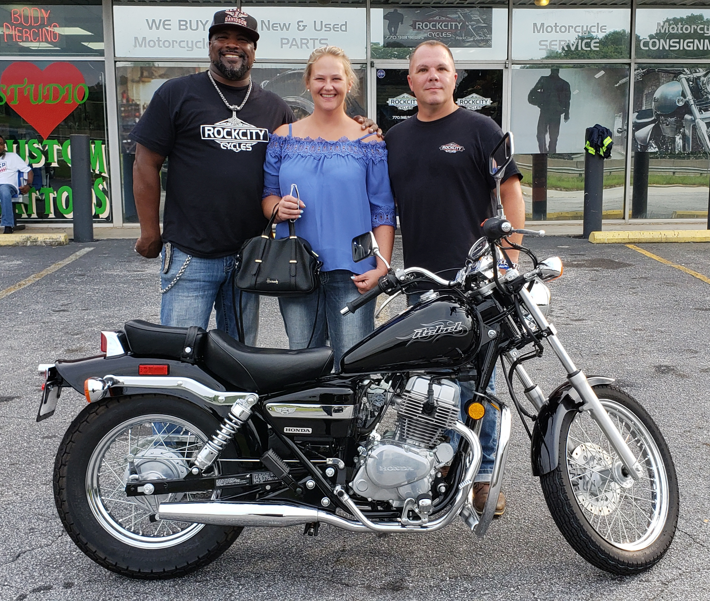 Betty F. with her 2008 Honda Rebel 250