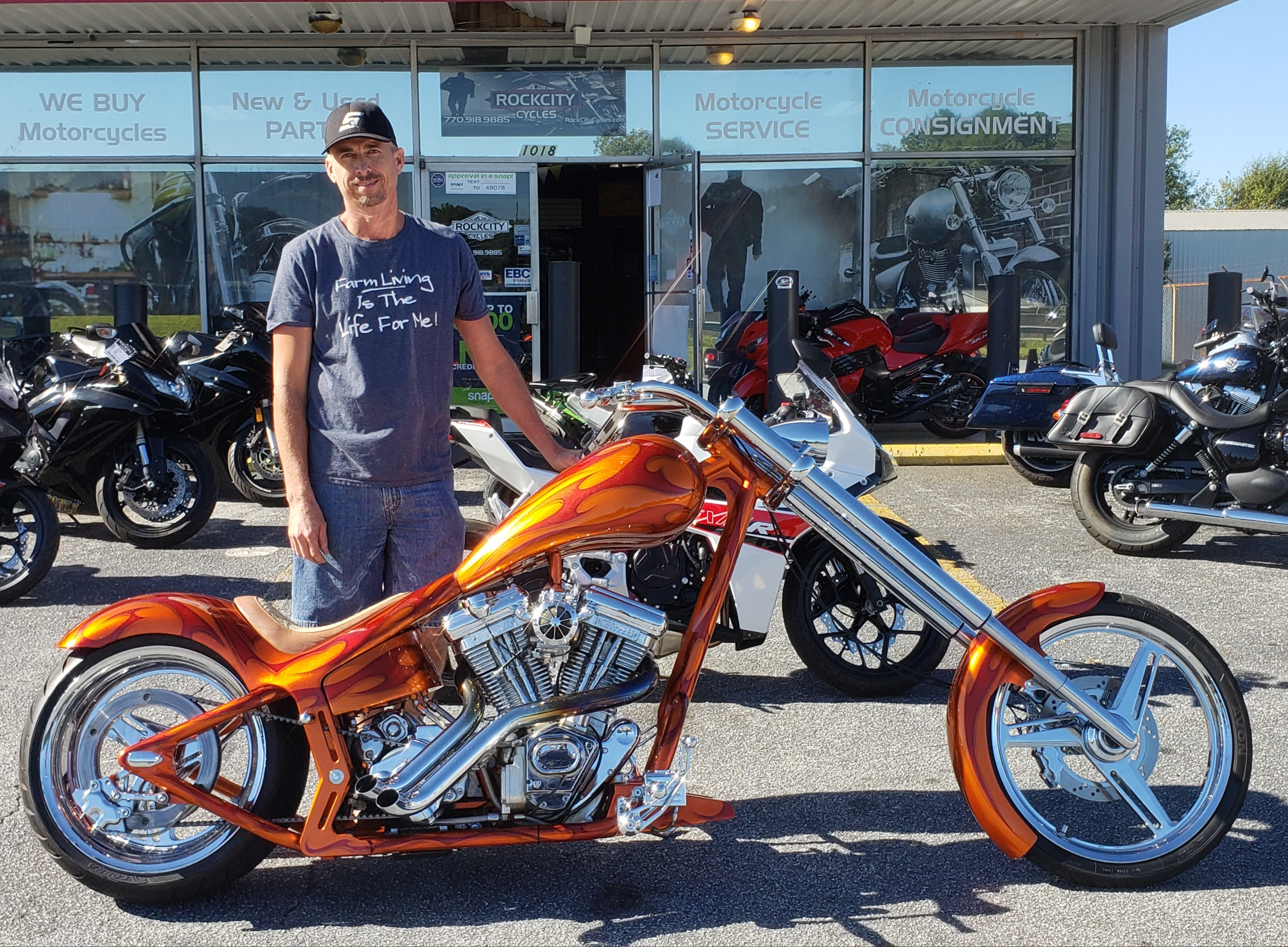 Earnest B. with his 2003 Thunder Cycle Eddie Trotta Drop Seat Softail